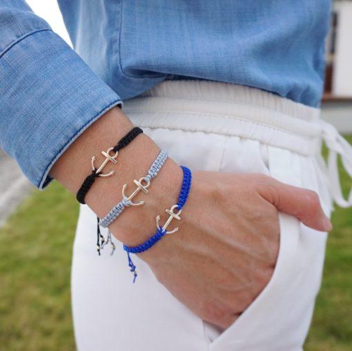 Makramee-Armband mit silbernem Anker