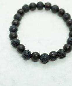 Männer-Armband aus schwarzen Holz- und Lavastein-Perlen