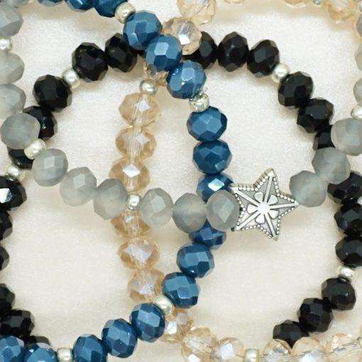 Perlen-Armband mit silbernem Stern in verschiedenen Farben