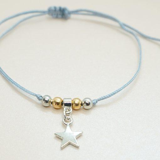 Zartes Armband mit silbernem Stern in verschiedenen Farben