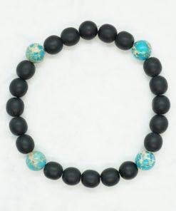 Männer-Armband mit schwarzen und blauen Perlen