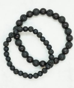 Partner-Armbänder aus schwarzen Lavastein-Perlen