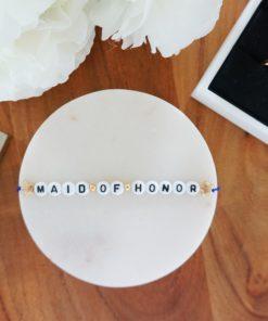 Hochzeits-Armband mit Maid of Honor Schriftzug und goldenen Sternen