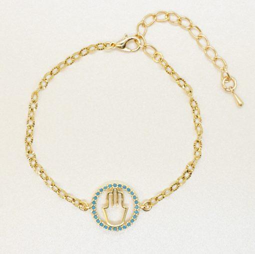 Goldenes Armband mit goldener Hamsa-Hand