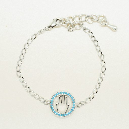 Silbernes Armband mit Hamsa Hand Anhänger
