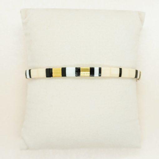 Perlen-Armband mit eckigen Miyuki Tila Perlen in creme.