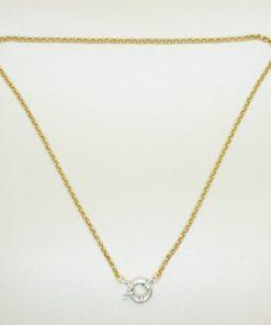 Goldene Halskette mit silbernem Rettungsring-Verschluss.