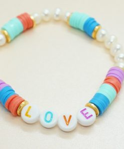 Perlen-Armband LOVE, HAPPY, SMILE mit Süßwasser- und Katsuki-Perlen in bunt
